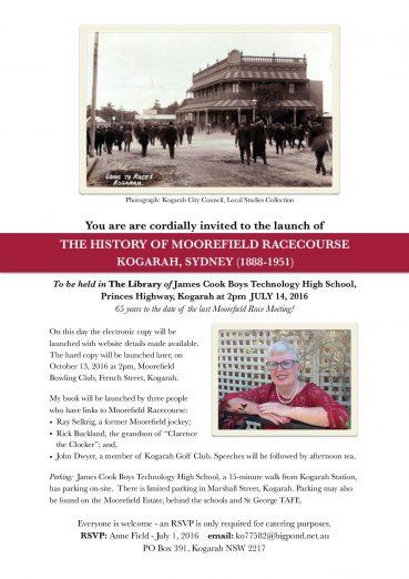 Book Launch – July 14 2016 Moorefield Racecourse Kogarah