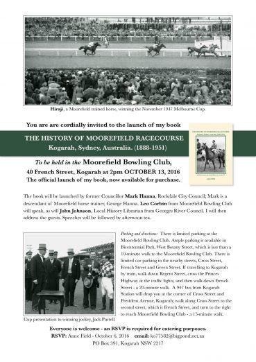 Moorefield Racecourse Book Launch – Oct 13th, 2016