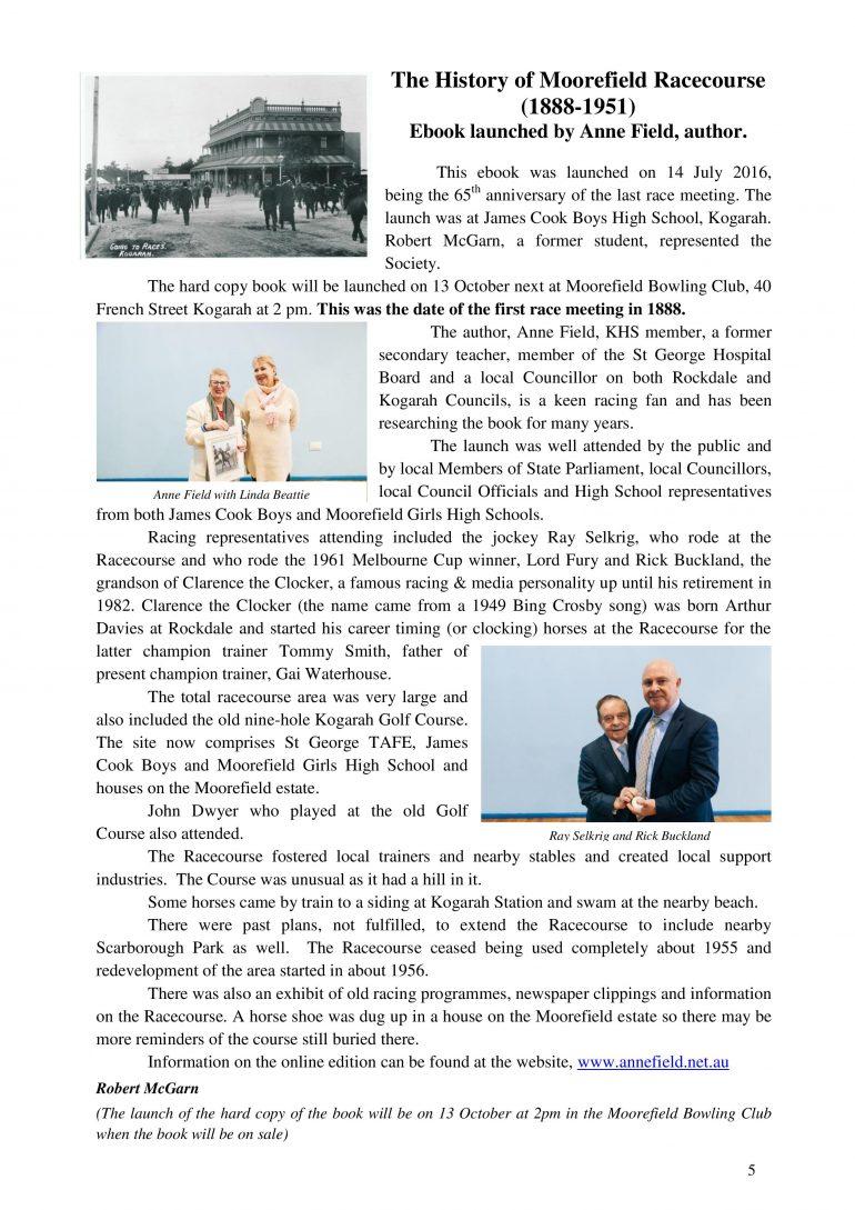 Kogarah Historical Society bulletin – Moorefield E-Book launch report
