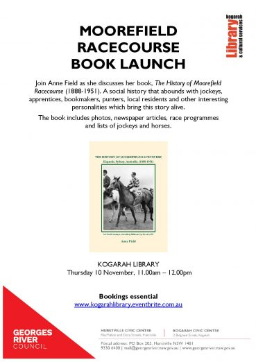 KOGARAH LIBRARY MOOREFIELD RACECOURSE BOOK LAUNCH TALK